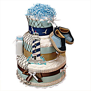 Lighthouse Nautical Diaper Cake II