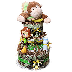 Jungle Monkey Blanket Baby Diaper Cake