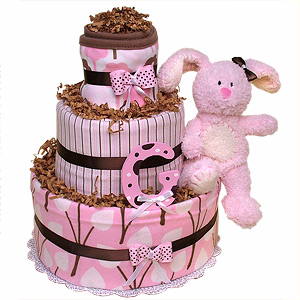 Chocolate Pink Bunny Diaper Cake