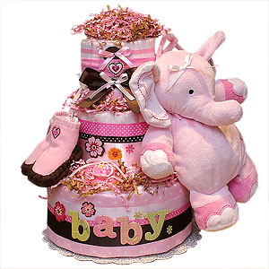 Pink Musical Elephant Diaper Cake