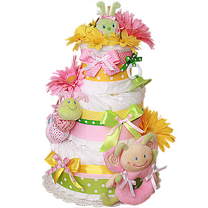 Green and Yellow Bug's Life Diaper Cake