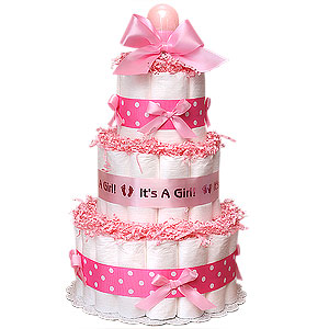 Pink Diaper Cake
