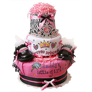 Princess Zebra Diaper Cake