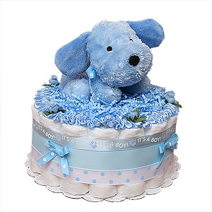 Blue Puppy Diaper Cake