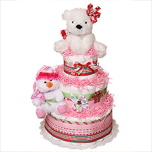 Happy Holidays Girl Diaper Cake