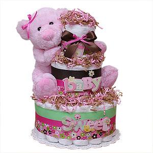 Sweet Baby Pink Bear Diaper Cake