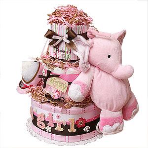 Sweet Baby Girl Musical Elephant Diaper Cake