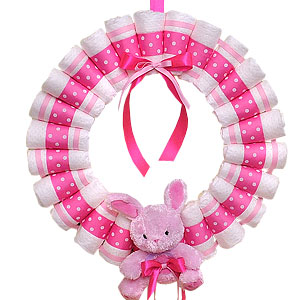 Hot Pink Diaper Wreath