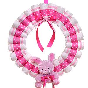 Hot Pink Diaper Wreath