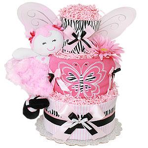 Zebra Butterfly Diaper Cake