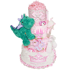 Baby Princess and Her Little Dragon Diaper Cake