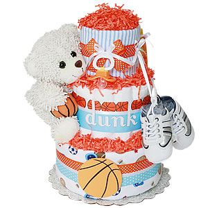 Sport Bear Basketball Diaper Cake