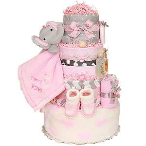 Pink and Grey Elephant Diaper Cake