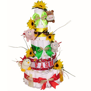 Farm Animals Diaper Cake
