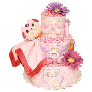 Pink and Purple Owl Diaper Cake