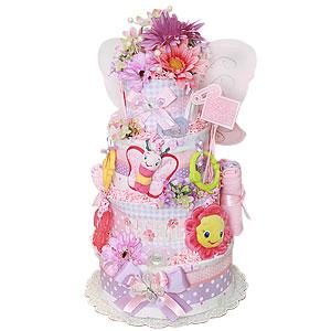 Flowery Butterfly Diaper Cake