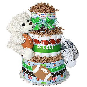 Sport Bear Football Diaper Cake