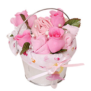 Pink Baby Bouquet in Bucket