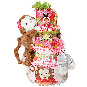 Fun Jungle Monkey Girl Diaper Cake