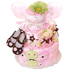 Green, Pink and Brown Butterfly Diaper Cake