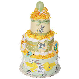 Neutral Looney Tunes Diaper Cake