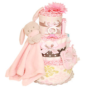 Grey and Pink Bunny Diaper Cake