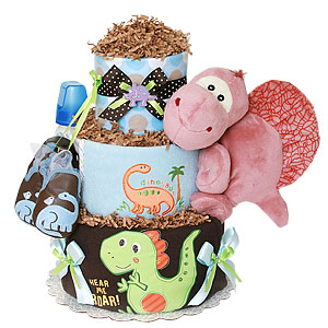 Hear Me Roar Dinosaur Diaper Cake