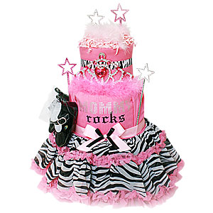 Mommy Rocks Modern Diaper Cake