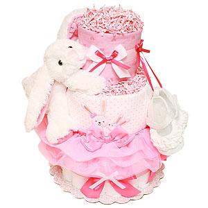 Bright Hot Pink Bunny Diaper Cake