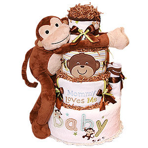 Hugging Monkey Diaper Cake