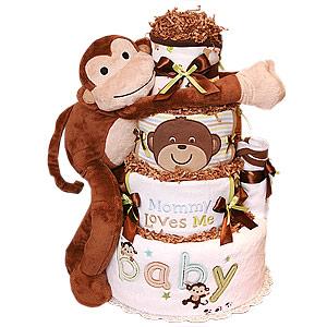 Hugging Monkey Diaper Cake