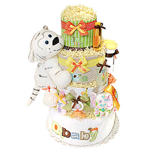 Jungle White Tiger Diaper Cake