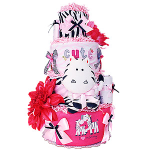 I Love Mommy Zebra Diaper Cake