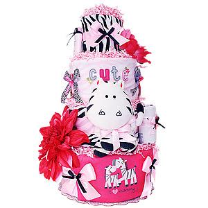 I Love Mommy Zebra Diaper Cake