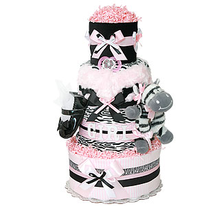 Light Pink, Black and White Zebra Diaper Cake