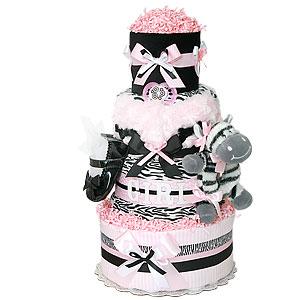 Light Pink, Black and White Zebra Diaper Cake