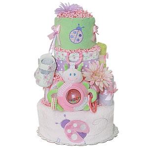 Lavender Pink and Green LadyBug Diaper Cake