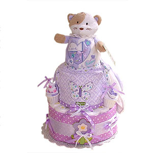 Lavender Cat Diaper Cake