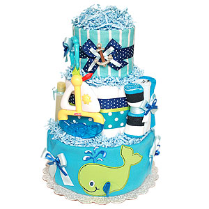 Little Whale and Boat Diaper Cake