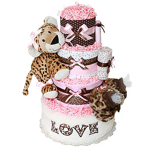 Love Leopard Girl Diaper Cake
