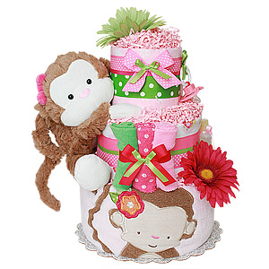 Mod Monkey Girl Diaper Cake