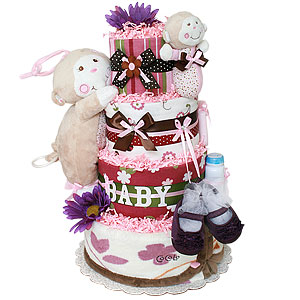 Musical Girl Monkey Diaper Cake