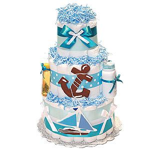 Sail Boat Nautical Diaper Cake