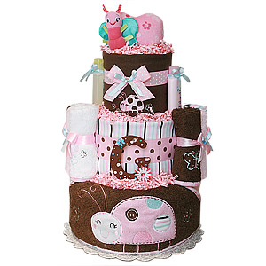 Brown and Pink Bath Ladybug and Butterfly Diaper Cake