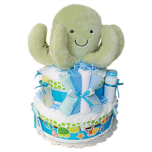 octopus diaper cake, ocean themed baby shower gift, gender neutral diaper cake, boy diaper cake, girl diaper cake