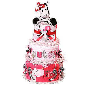 Hot Pink One of a Kind Zebra Diaper Cake