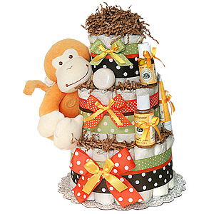 Organic Orange Monkey Diaper Cake