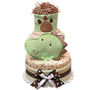 Green and Brown Dinosaur Diaper Cake