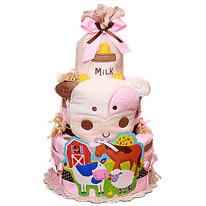 Pink Cow Farm Diaper Cake