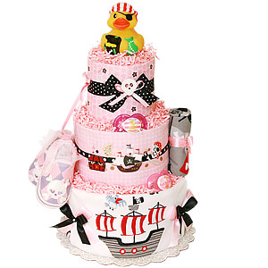 Ahoy! Pirate Diaper Cake for a Girl